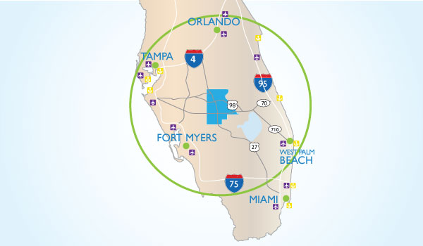 Map showing Highlands County's proximity to other metro areas in Central Florida